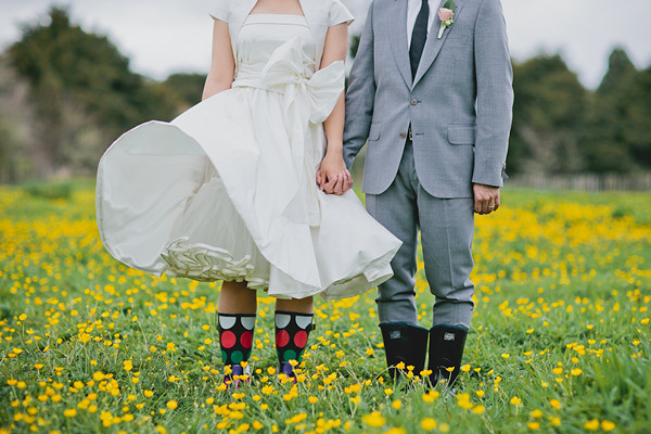 bride in polka dot rain boots