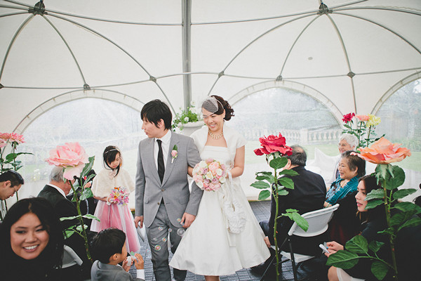 wedding ceremony with giant roses