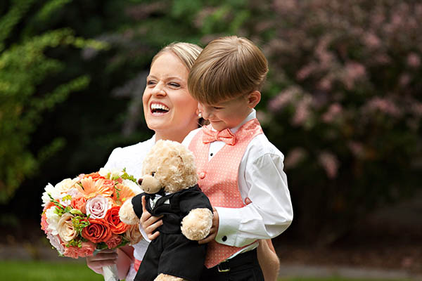 ring bearer with teddy bear