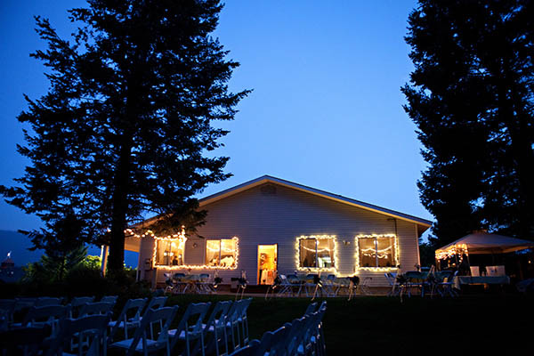 golf course wedding lit up at night