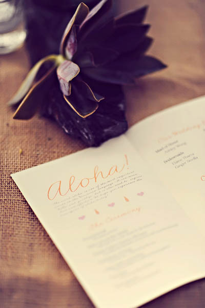 Hawaii wedding program