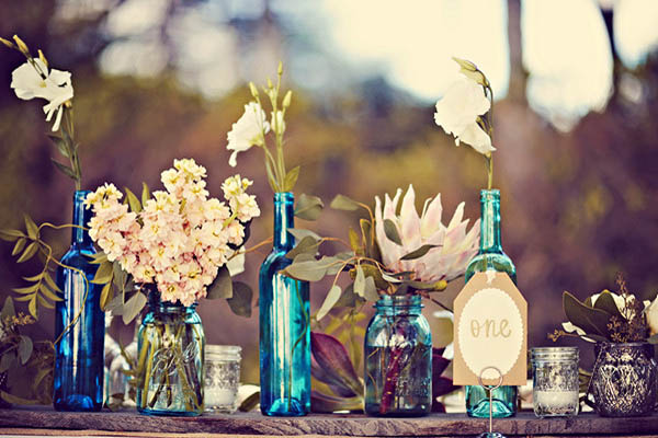 blue bottle flower arrangements