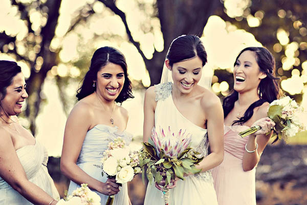 bride with her bridesmaids in Maui