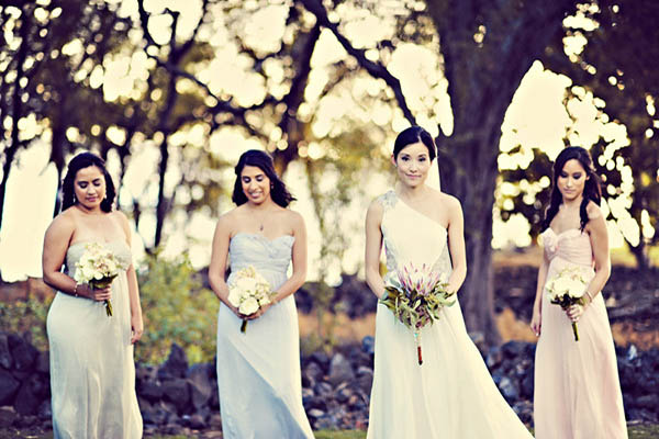 bride with bridesmaids in Hawaii