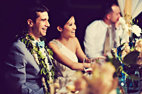 bride and groom at outdoor Hawaii wedding reception