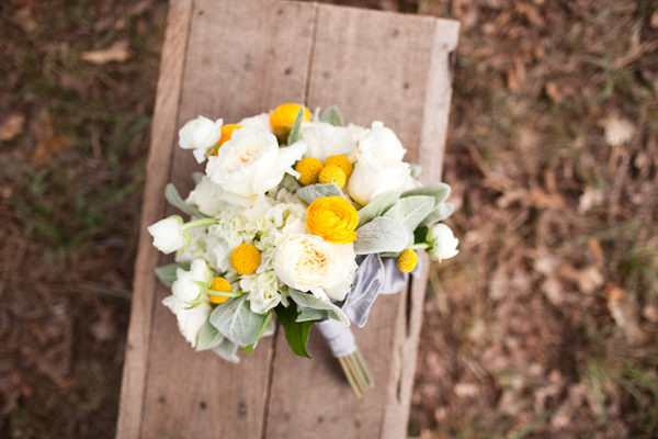 white rose and yellow ranunculus wedding bouquet
