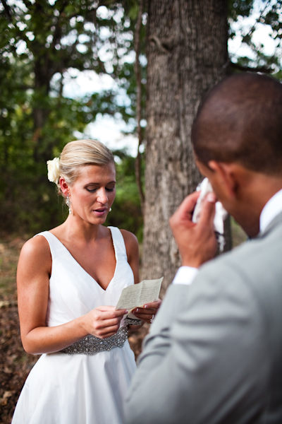 bride reading her vows