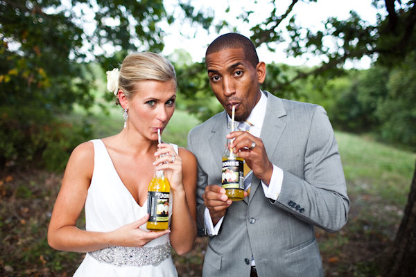 bride and groom drinking jones soda