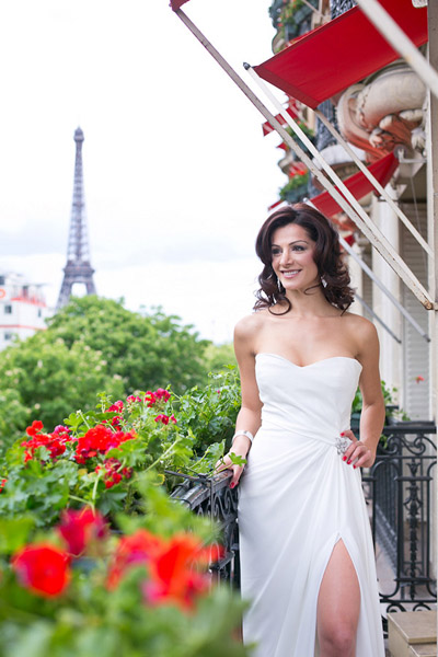 bride on Paris balcony