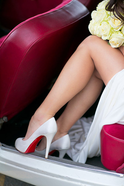 bride showing some leg