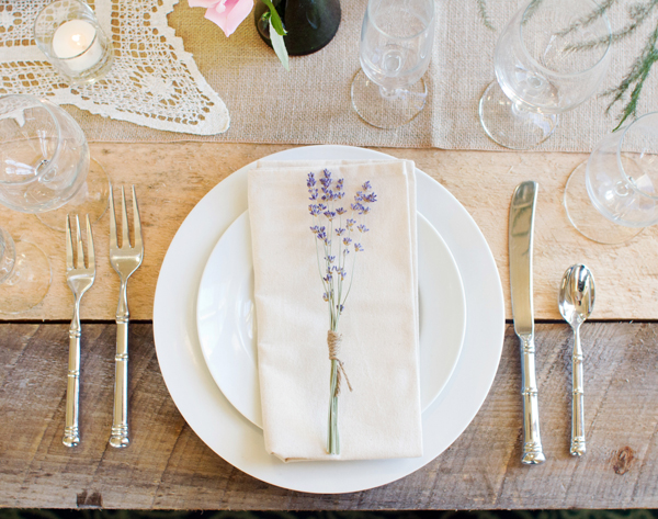lavender place setting
