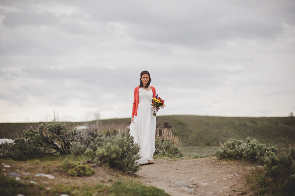 bride in Grand Teton National park