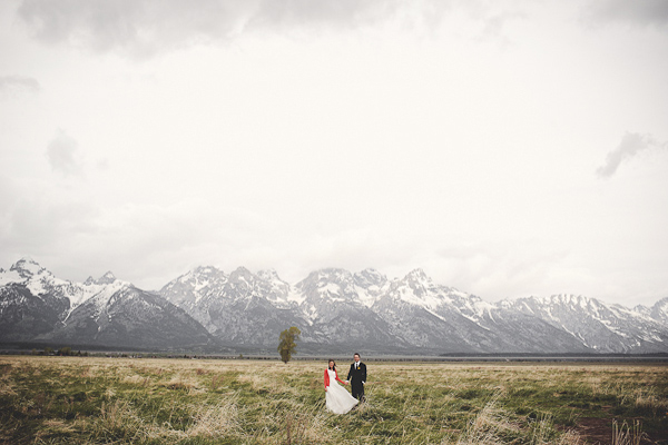 bride and groom in Grand Teton National Park
