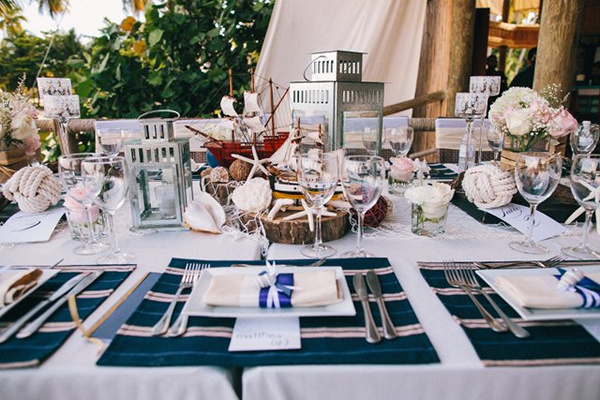 nautical themed wedding reception on the beach
