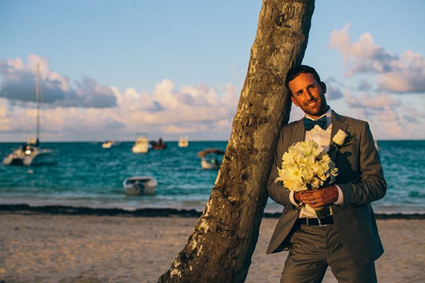 groom on beach in Punta Cana