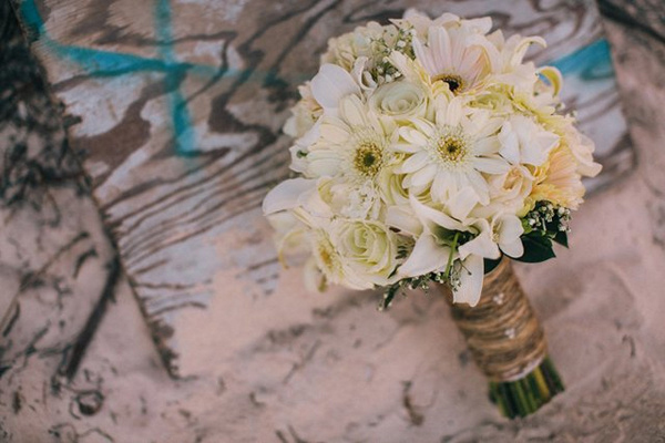 white rose and gerber daisy wedding bouquet