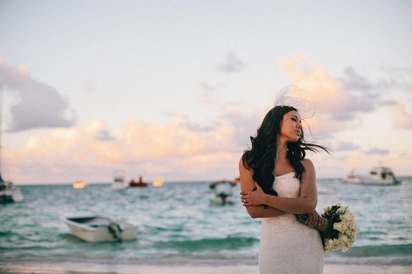 bride on beach in Punta Cana