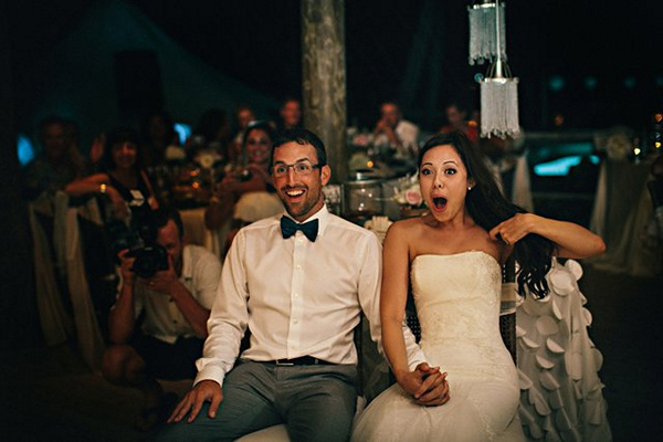 surprised bride and groom