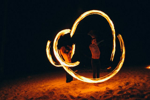 fire dancers at Punta Cana wedding