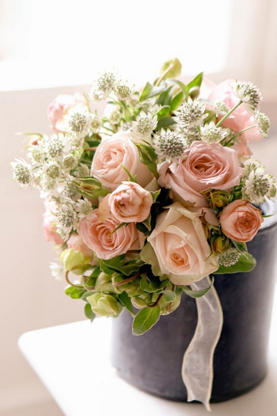pink rose and thistle wedding bouuet