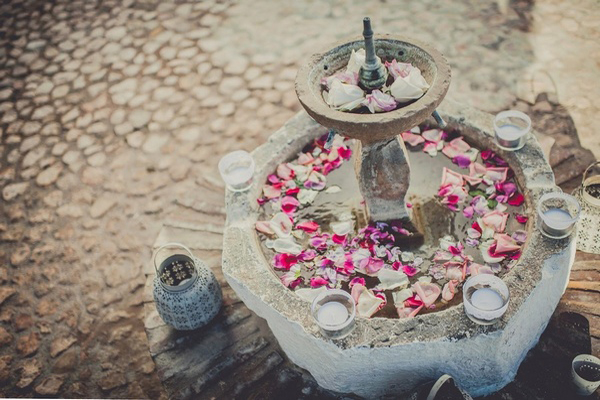 rose petals in spanish fountain