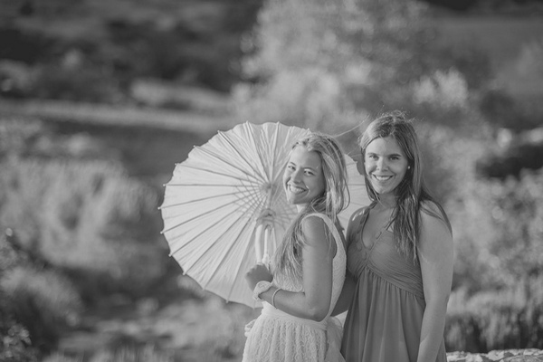 wedding guests with parasol