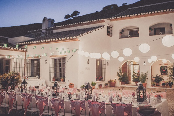 outdoor spanish villa wedding with paper lanterns