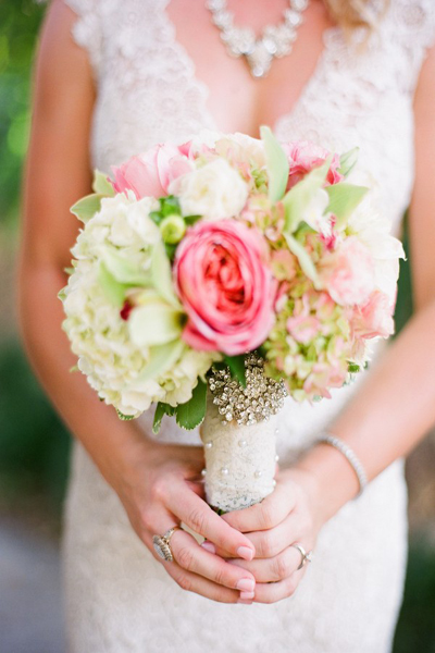 lace wrapped wedding bouquet with crystal brooch