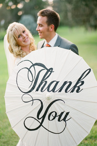bride and groom thank you parasol