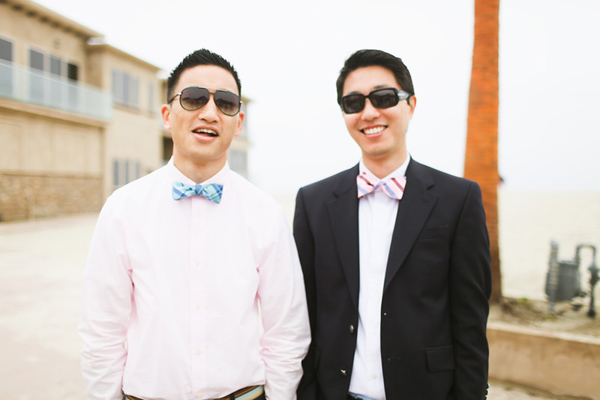 wedding guests wearing bow ties
