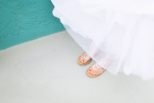 bride in wedding sandals