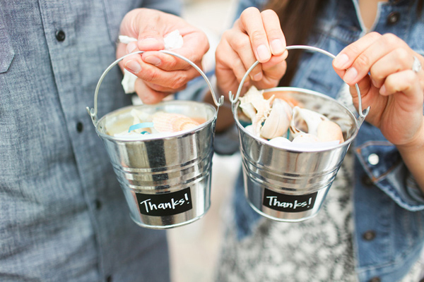 mini pail with seashells wedding favor
