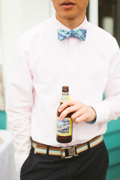 Wedding Guest In Plaid Bow Tie