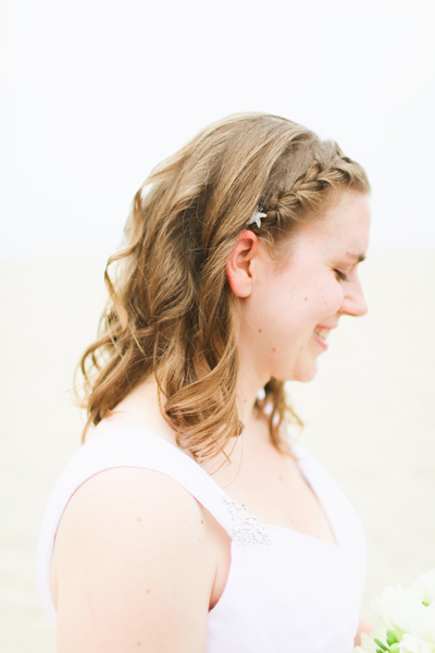 bride with crown braid