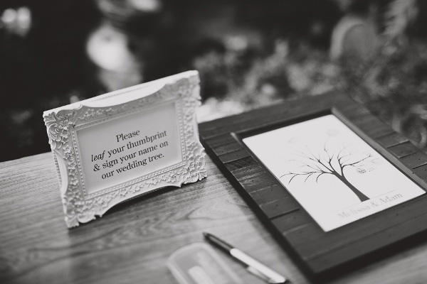 leaf thumbprint wedding guest book