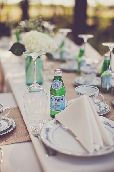 rustic backyard wedding reception table setting