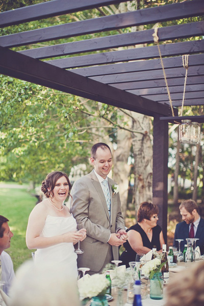 rustic backyard wedding reception
