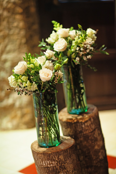 white rose wedding arrangements