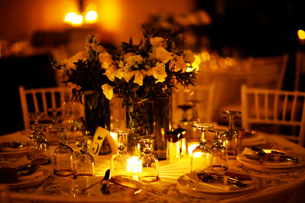 Mexican destination wedding reception table