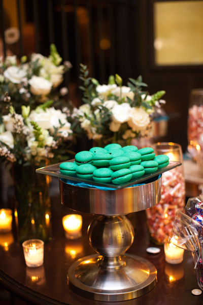 green wedding macarons