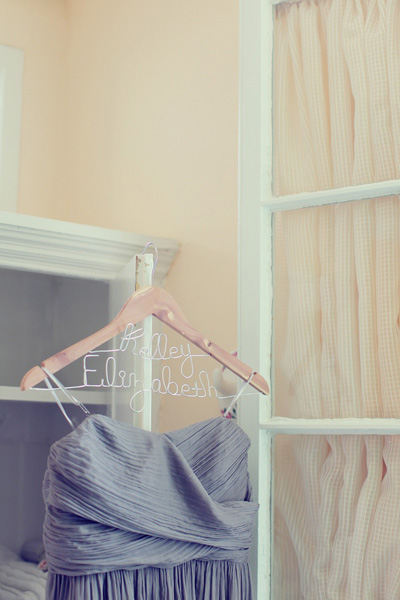 bridesmaid dress on custom name hanger