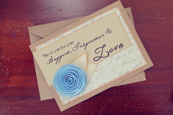 thank you card with blue paper rose