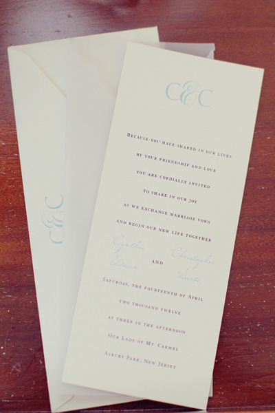 clean and elegant wedding invitation