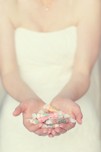 bride with candy