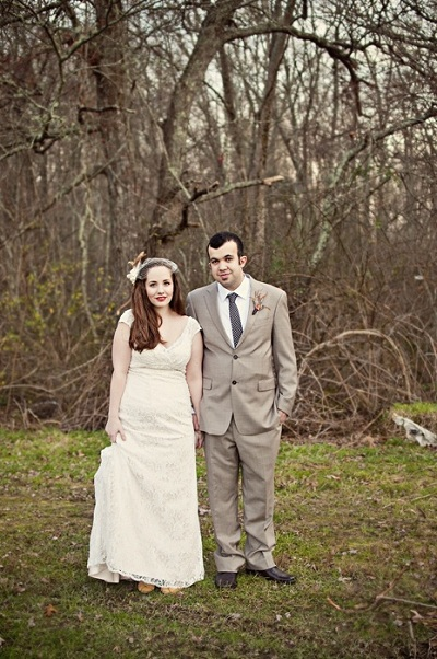 bride and groom on the farm