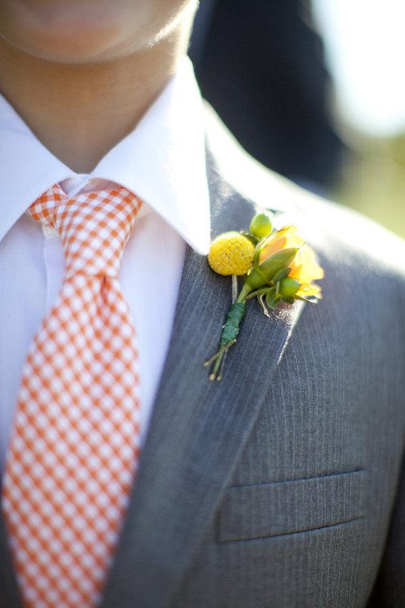 gingham wedding tie
