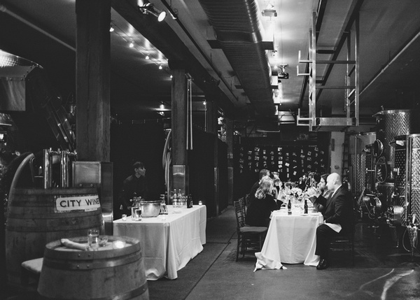 Intimate City Winery wedding reception