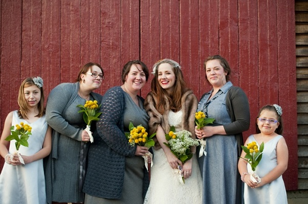bridesmaids with billy button bouquets