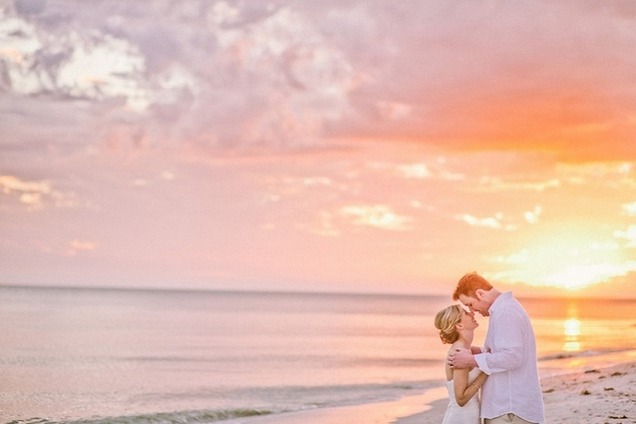 Beach Wedding Sunset Florida Sarah Steven Intimate