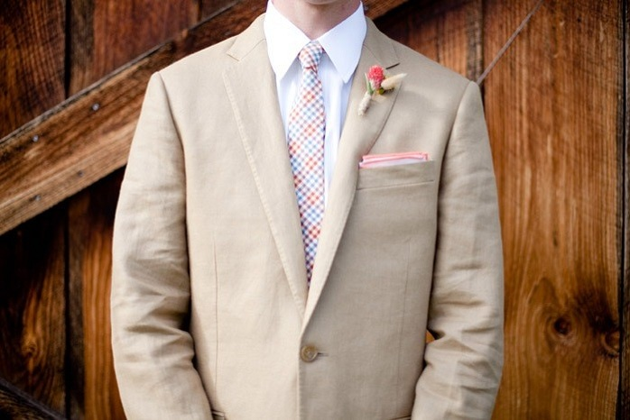 groom-outfit-patterned-tie-pocket-square-rustic-barn-wedding